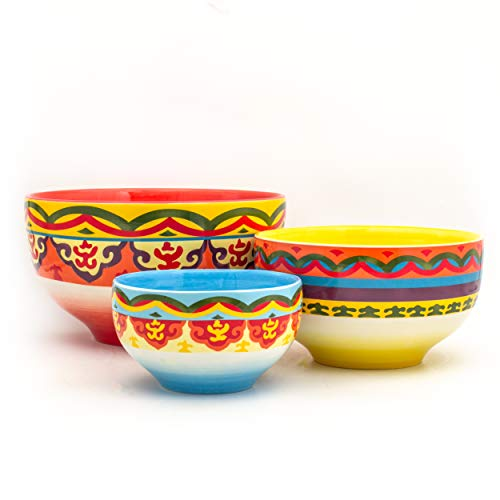 (Euro Ceramica Galicia Collection Andalusian-Inspired Ceramic Mixing Bowls, 3 Piece Set, Vibrant Assorted Patterns & Sizes, Multicolor)