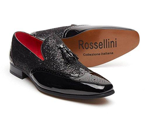 Fancy Brogue da Black in Rossellini Linea Dress Shimmer pelle uomo Patent scarpe party mocassini Shiny nappa 7xnUx4wq
