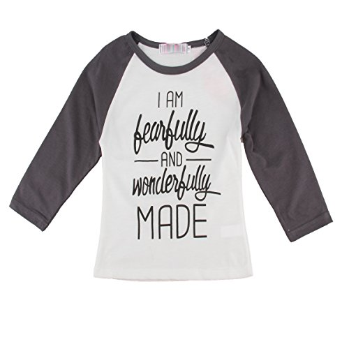 puseky Baby Boys Girls Letter Printing Long Sleeve T-Shirt Clothes Pullover Top (5T-6T) White