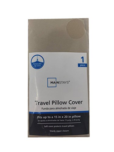 Mainstays Removable Travel Pillow Cover, Tan (Fits Pillows up to 15 in. x 20 in.)