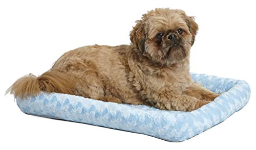 24L-Inch Blue Dog Bed or Cat Bed w/Comfortable Bolster | Ideal for Small Dog Breeds & Fits a 24-Inch Dog Crate | Easy Maintenance Machine Wash & Dry | 1-Year Warranty