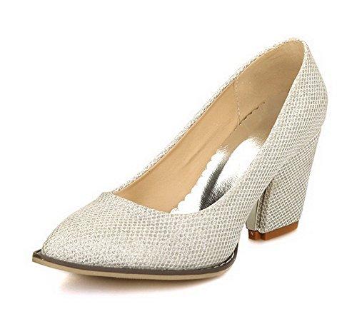 VogueZone009 Damen Ziehen auf Hoher Absatz PU Leder Rein Spitz Zehe Pumps Schuhe Silber