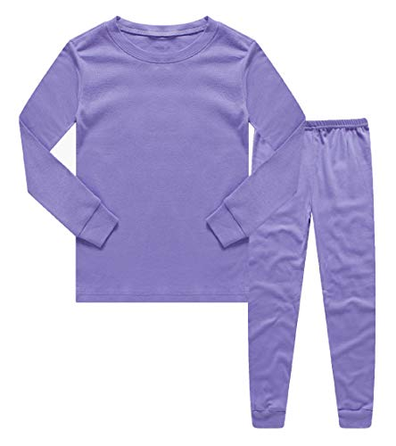 (Boys Girls Kids Pajamas Solid Colors 2 Piece Pajama Pants Set 100% Cotton Purple Size 6)