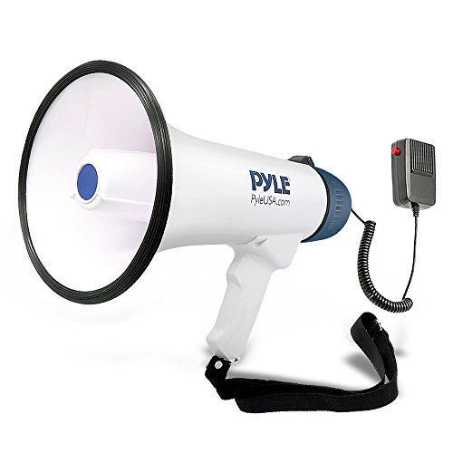Pyle Megaphone Speaker PA Bullhorn with Built-in Siren - 40 Watts Adjustable Volume Control & Rechargeable Battery - 10 Sec Record Ideal for Football, Baseball, Basketball Cheerleading Fans, Coaches or for Safety Drills (PMP45R)]()