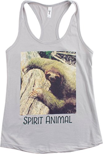 Spirit Animal Sloth | Funny Cute Lazy Kid Nap Time Relax Ladies' Racerback Tank-(Racerback,L)