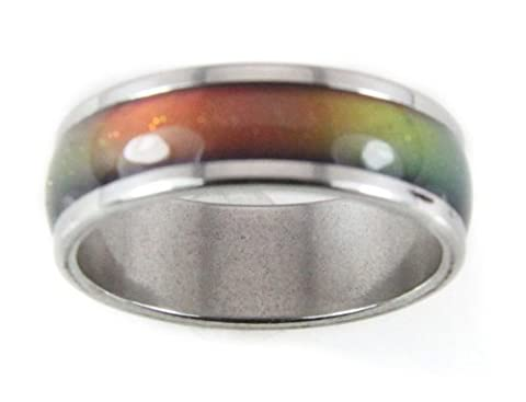 8mm Solid Stainless Steel Mood Ring 70's Style Not Cheap Very Good Quality (7) (Mood Rings Size)