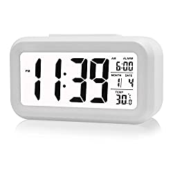 Smart Digital Morning Alarm Clock, Samyoung Soft Light Sensor Technology Home Electronics Date Temperature Display Progressively Louder Waking Alarm Big LCD Screen Repeating Snooze Function -White