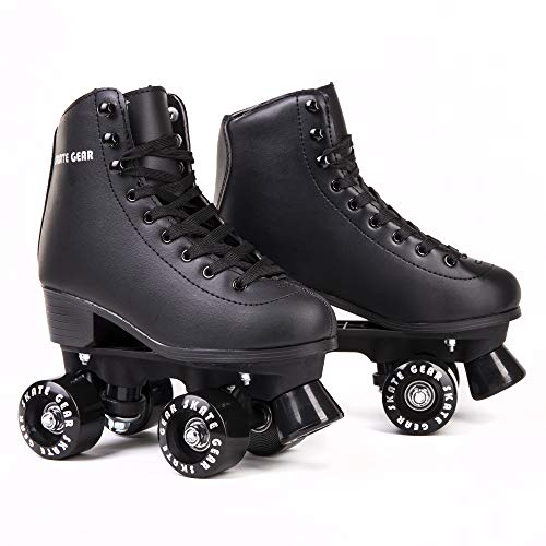 (Cal 7 Roller Skates for Indoor & Outdoor Skating, Faux Leather Boot with Quad Design, Ankle Support Frame, Adults & Kids (Black, Men's 7 / Women's)