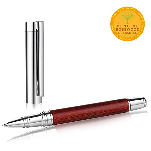 Unibene Luxury Chrome Rosewood Rollerball Pen, Nice Writing Set Gift with Extra Refill for Executive Signature Office Business Birthday Christmas, Hancrafted Metallic Wood Collection