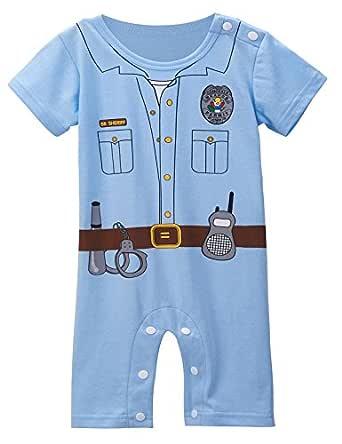 MOMBEBE COSLAND Mono Bebé Niño Manga Corta Uniforme Policía Algodón (Policía, 18-24 Meses)