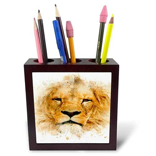 3dRose Anne Marie Baugh - Impressionist Mixed Media Art - Image of Watercolor Lion Face Art - 5 inch Tile Pen Holder (ph_318684_1)