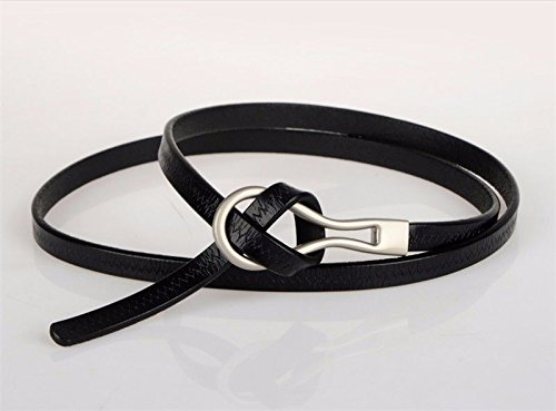 LONFENNE Women Ms lady Ladies' belts knotting fashion leather fine waistband dress skirt dress waist belt. black