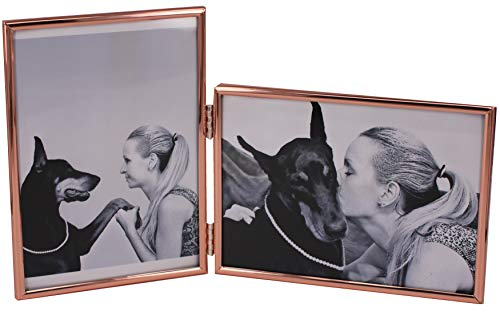 - LEADEX Vertical Horizontal Combo- Double 5 by 7 Inch Rose Gold Plated Metal Folding Picture Frames-(1 Landscape and 1 Portrait Style) (Rose Gold)