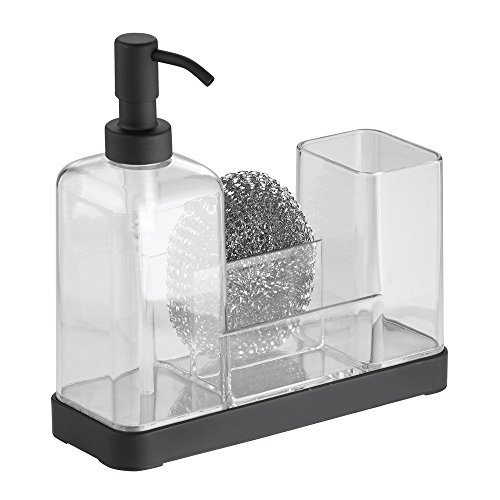 InterDesign Forma Kitchen Caddy with Soap Dispenser Pump & Scrubby - Clear/Black Matte