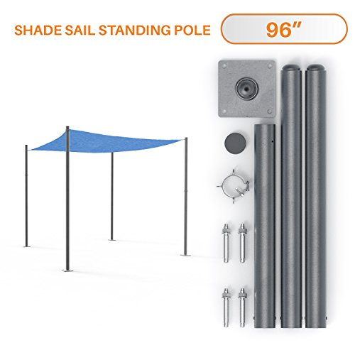 Sunshades Depot 8' Feet Tall (96')Sun Shade Sail Pole Stand Post Heavy-duty Awning Canopy Support Poles Space Grey Steel Fence Corner Post
