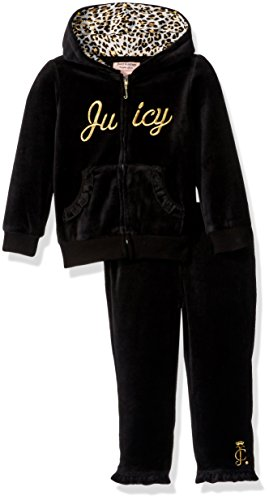Juicy Couture Girls' 2 Piece Velour Pants Set, Black Vinyl, 6-9 Months ()