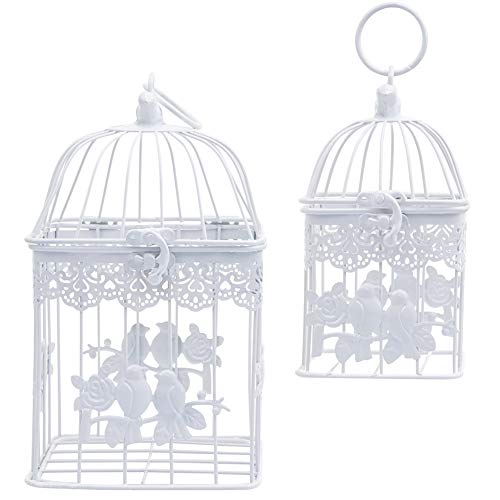 AHUA 2pcs Metal Square Bird Cage, Couples White Wedding Birdcage, Metal Love Birds Decorative Hanging Candle Latern, DIY Floral, Card Holder for Wedding Party Christmas Valentine