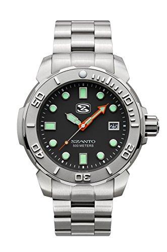 Luminova Markers (Szanto Men's SZ 5121 Deep Dive Analog Display Japanese Quartz Silver Watch)