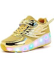 LED-Roller Skates Schoenen, Single Wheel Knipperende Lichtgevende Skates Technische Skateboarden Schoenen Kids Outdoor Gymnastics Sneakers,Gold,38
