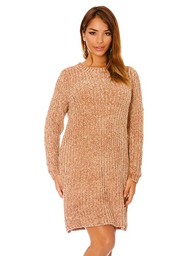 dmarkevous - Robe pull oversize taupe effet tricoté - Unique, taupe
