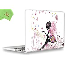 """UESWILL Creative Design Smooth Soft-Touch Hard Case Cover for MacBook Pro 15"""" with Retina Display (NO Touch Bar,NO CD-ROM) (Model:A1398) + Microfibre Cleaning Cloth,Fairy"""