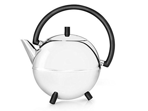 bredemeijer Saturn Double Walled Teapot, 1.2-Liter, Stainless Steel Glossy Finish with Black Accents