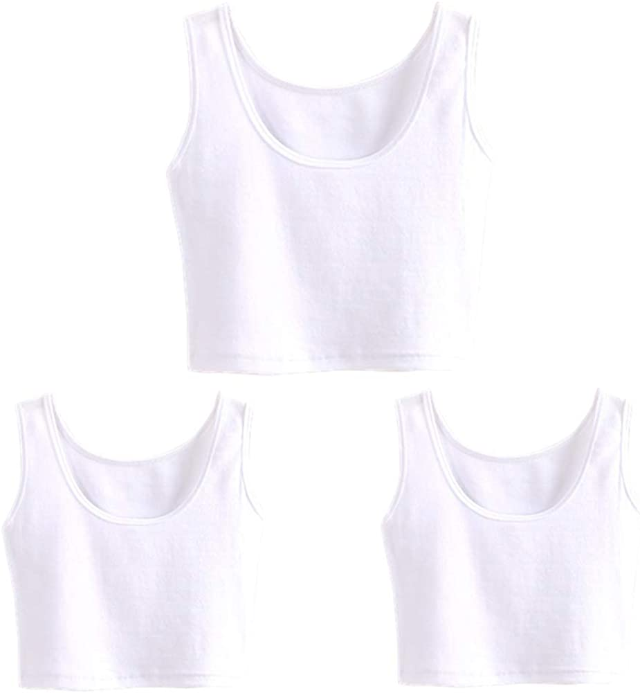 HZH Short Yoga Dance Athletic Tank Crop Tops Shirts for Women or Teens(3 Pack)