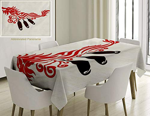 Red Dragon Boat - Unique Custom Cotton and Linen Blend Tablecloth Oar Dragon Boat Paddles Rowing in The Waves Oriental Style Symbolic Energy Illustration Red BrownTablecovers for Rectangle Tables, 86 x 55 inches