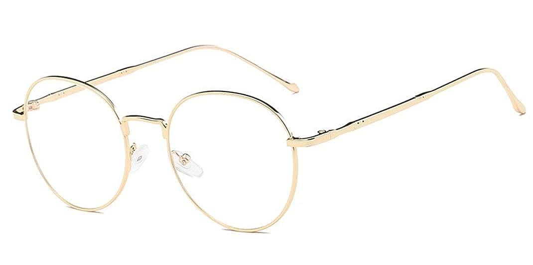 2963de3c5ce Mode Homme Monture Lunettes Ronde Métallique Rétro Vintage rétro Lunettes  Verre Transparent Cadre Frame Lentille Claire Montures de lunettes   Amazon.fr  ...