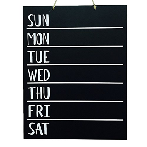 JennyGems - Menu Board- Wooden Chalkboard - Weekly Menu Meal Planner - Chore Board - Kitchen To Do List and Weekly Planner For Use With Actual Chalk (Do Not Use Liquid Chalk Pens or Markers) ()