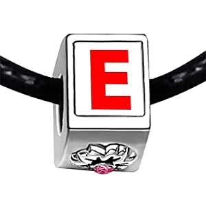 Chicforest Silver Plated Red Letter E Photo Light Rose Crystal October Birthstone Flower Charm Beads Fits Pandora Bracelet
