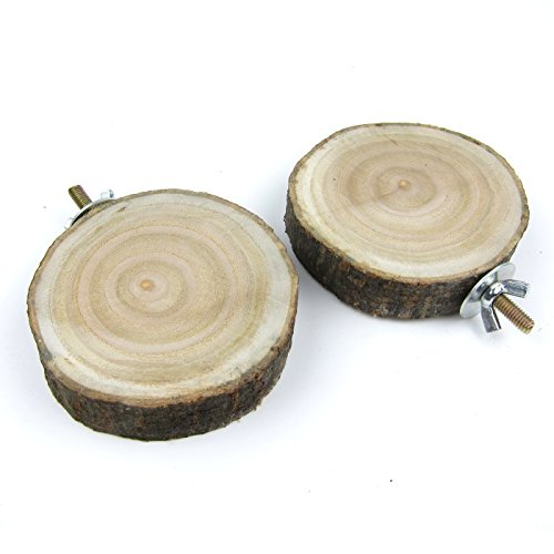 Alfie Pet by Petoga Couture - Wilma Natural Wood Platform 2-Piece Set for Birds - Size: Small