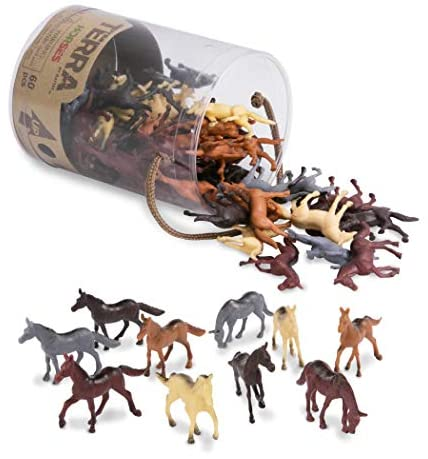 Terra by Battat – Horses – Assorted Miniature Horse Toys For Kids 3+ (60 Pc), 2″, Multi
