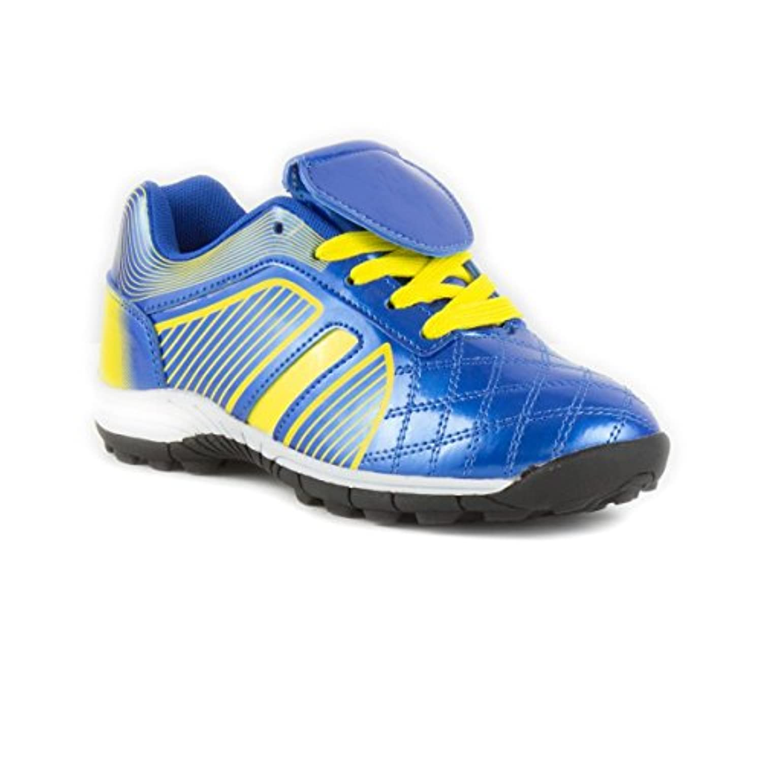 Tick - Boys Blue & Yellow Lace Up Astroturf Trainer - Size 2 - Blue