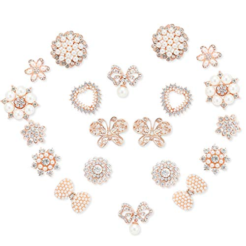 20Pcs Rhinestone Pearl Embellishments, Diamond Flower Buttons Rhinestone Flatback Pearls Buttons DIY for Jewelry Making, Wedding DIY Supplies, Clothes, Bags, Shoes and Sew Craft Projects