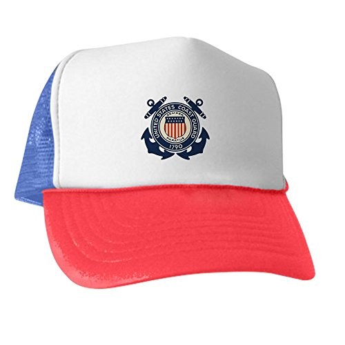 Royal Lion Trucker Hat (Baseball Cap) United States US Coast Guard Seal - Red White and Blue