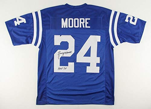 Lenny Moore Autographed Blue Indianapolis Colts Jersey - Hand Signed By Lenny Moore and Certified Authentic by JSA - Includes Certificate of Authenticity - Inscribed HOF 75