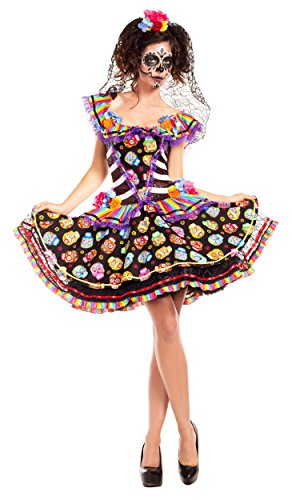 Senorita Costume Makeup (Sugar Skull Senorita Adult Costume - Plus Size 2X)
