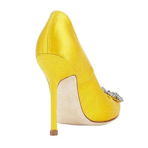 EKS Women's Satin Full Sole Diamonds Pointy Closed Toe High Heel Pumps Black Yellow sale professional 990YqTF