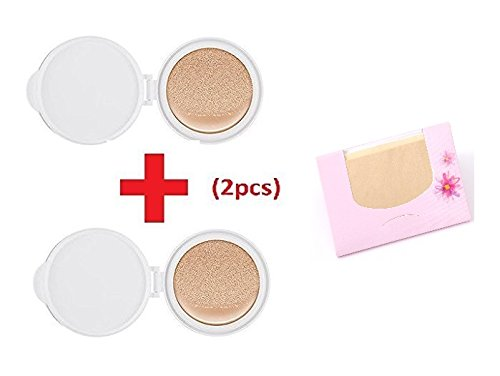 Missha M Magic Cushion Moisture Refill #21 (2pcs) + SoltreeBundle Natural Hemp Paper 50pcs