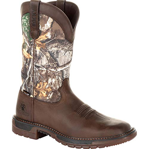 Rocky Men's Original Ride FLX Waterproof Western Boot Square Toe Brown 10 -