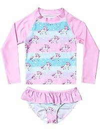2-Piece Rash Guard Swimwear Girls Long Sleeve Unicorn Swimsuits Pink Beach Shirt