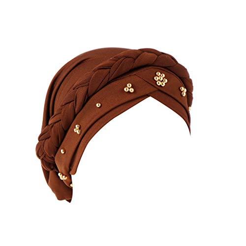 BCDshop Women Beading Braid India Hats Muslim Cancer Chemo Beanie Turban Wrap Cap (Coffee)