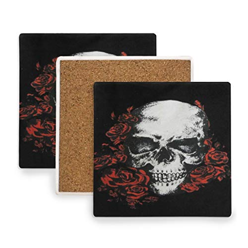 Hot Gothic Floral Skull Coasters, Protect Your Furniture from Stains,Coffee, Cork Coasters Funny Housewarming Gift,Square Cup Mat Pad for Home, Kitchen or Bar Set of 2