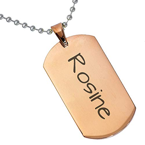(Tungsten King Stainless Steel Baby Name Rosine Engraved Rose Gold Plated Gifts for Son Daughter Parent Friends Significant Other Initial Quote Customizable Pendant Necklace Dog Tags 24'' Ball)