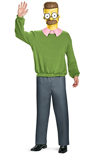 [Mememall Fashion The Simpsons Ned Flanders Deluxe Adult Costume] (Ned Flanders Costumes)
