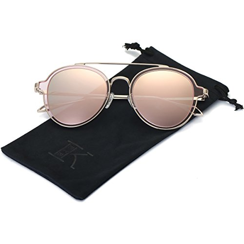 LKEYE-Unisex Polarized Sunglasses Metal Frame UV Protection Mirrored Lens LK1706 Gold Frame Pink - For Men Best Sunglasses With Round Face