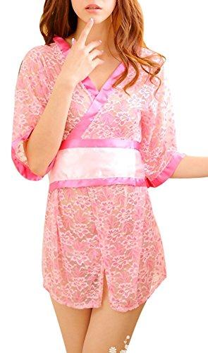 Paplan Destruir la flor de muselina vaporoso Filmy de la ropa interior de las mujeres Pink
