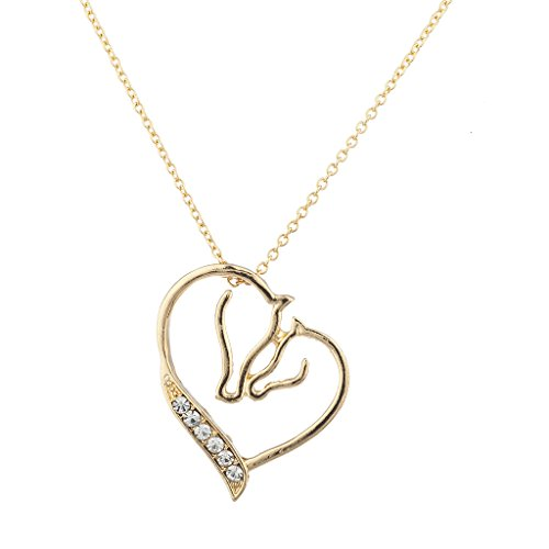 Lux Accessories Xmas Christmas Holiday Gold Tone Crystal Rhinestone Mother Child Horse Heart Necklace