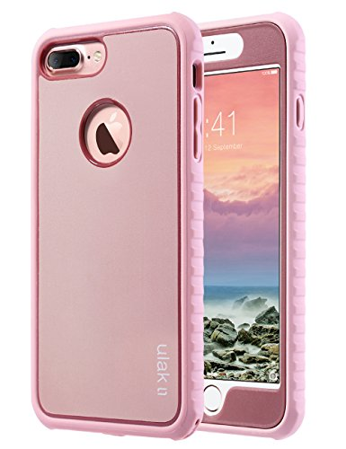 ULAK iPhone 7 Plus Case, iPhone 7 Plus Case Slim Shockproof Flexible TPU Bumper Case Durable Anti-Slip Lightweight Front and Back Hard Protective Safe Grip Cover for iPhone 7 Plus 5.5 inch Rose Gold